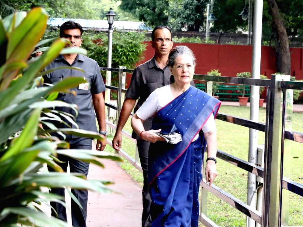 Congress leader Sonia Gandhi arrives to attend Congress Working Committee meeting in New Delhi on Aug 10, 2019. - Sonia Gandhi