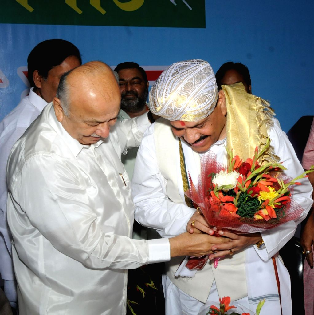 Congress leader Sushil Kumar Shinde and National Commission for Schedule Castes (NCSC) vice-chairman Raj Kumar Verka during a programme organised to celebrate the 125th Valmiki Jayanti in ... - Sushil Kumar Shinde and Kumar Verka