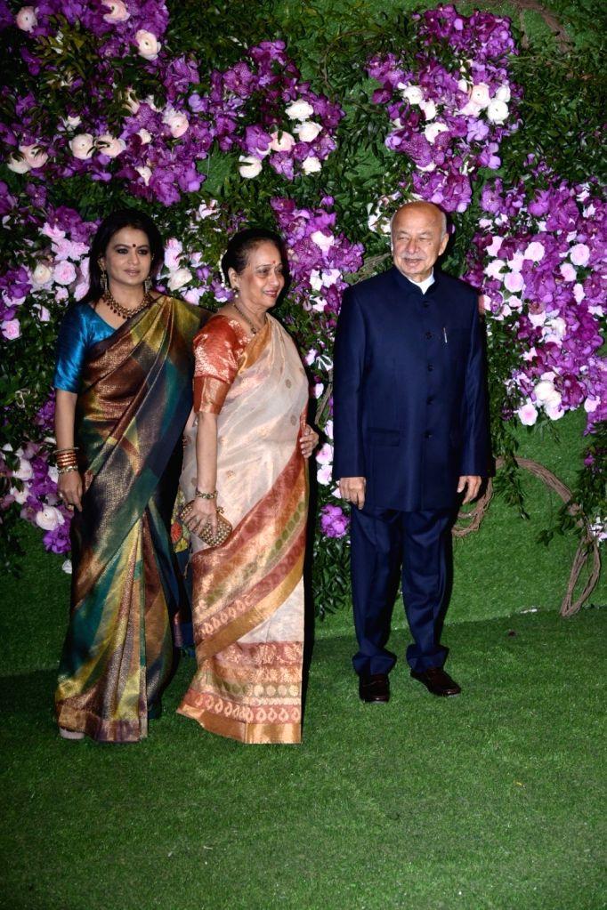 Congress leader Sushilkumar Shinde at the wedding festivities of Akash Ambani and Shloka Mehta in Mumbai on March 9, 2019. - Akash Ambani and Shloka Mehta