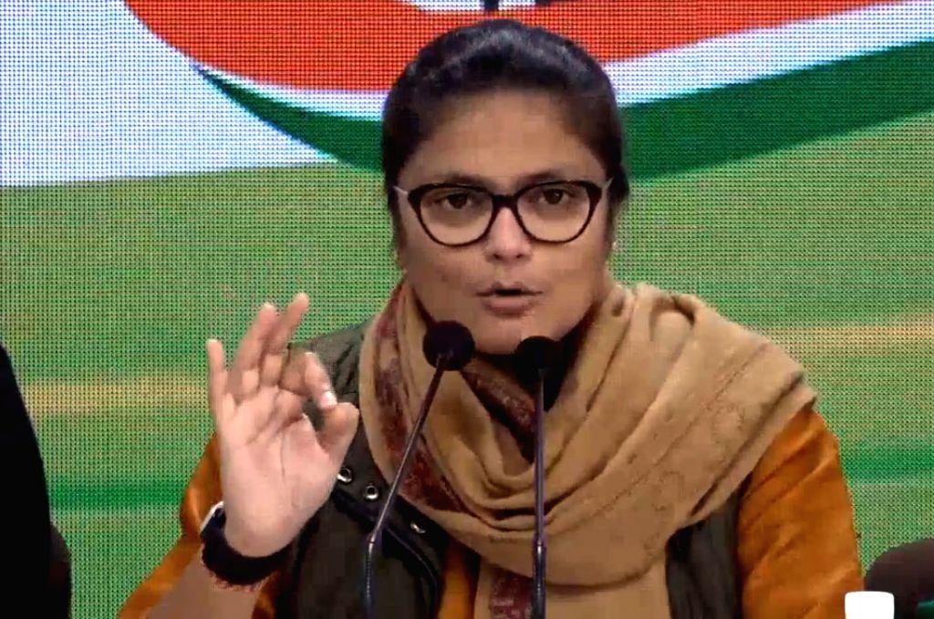 Congress leader Sushmita Dev addresses a press conference in New Delhi on Jan 12, 2020. - Sushmita Dev