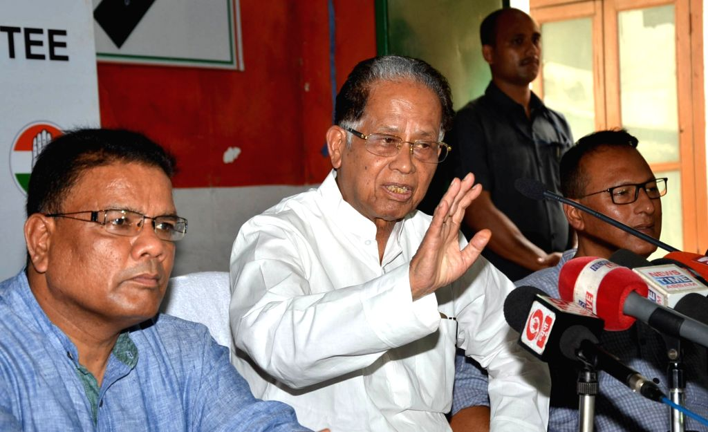 Congress leader Tarun Gogoi addresses a press conference in Guwahati on June 25, 2016.