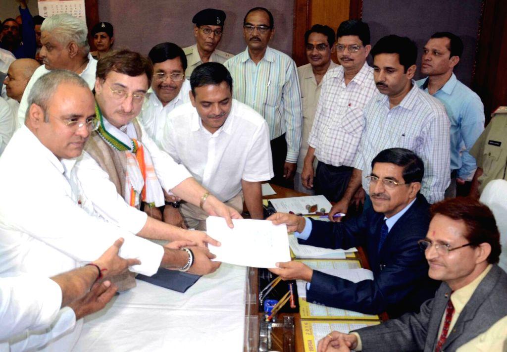 Congress leader Vivek Tankha files nominations for elections to Rajya Sabha at Madhya Pradesh assembly in Bhopal, on May 30, 2016.
