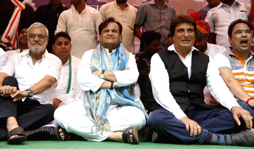 Congress leaders Ahmed Patel and Raj Babbar during a protest against Union Government in New Delhi on Aug 10, 2017. - Ahmed Patel