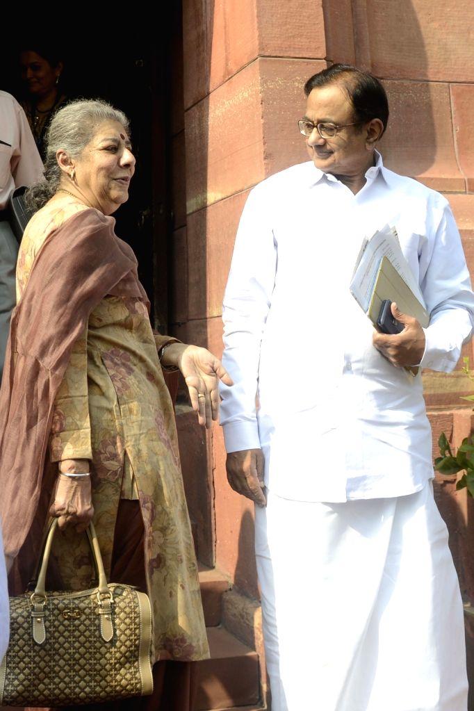 Congress leaders Ambika Soni and P Chidambaram at the Parliament in New Delhi on Nov. 17, 2016.