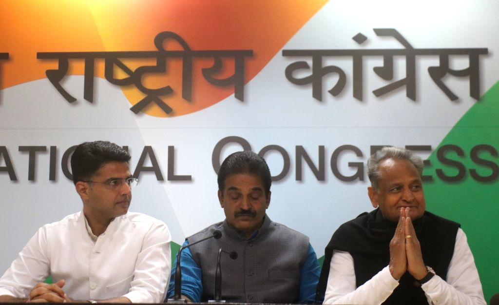 Congress leaders Ashok Gehlot, KC Venugopal and Sachin Pilot address a press conference in New Delhi on Dec 14, 2018.