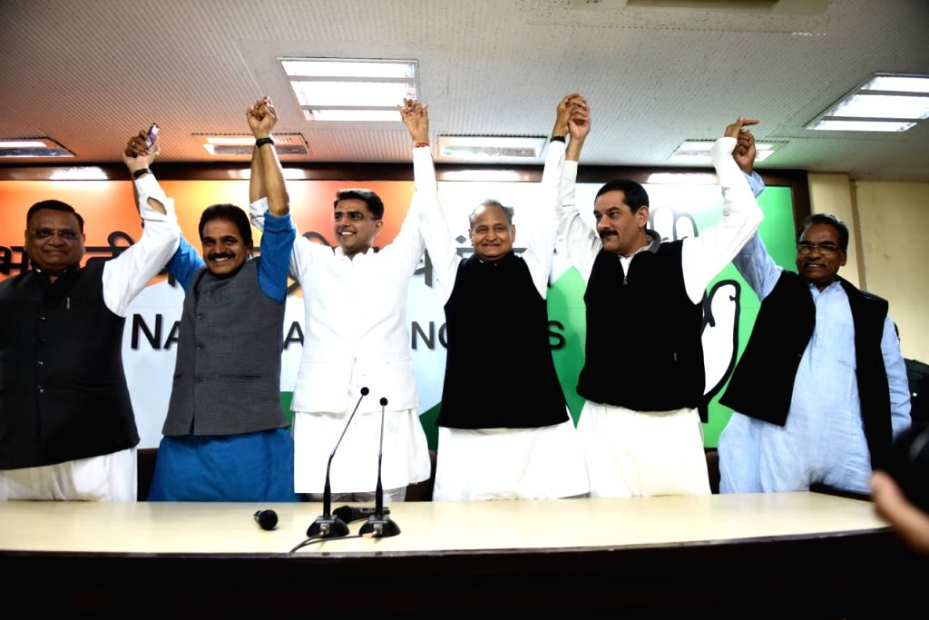 Congress leaders Ashok Gehlot, KC Venugopal and Sachin Pilot during a press conference in New Delhi on Dec 14, 2018.
