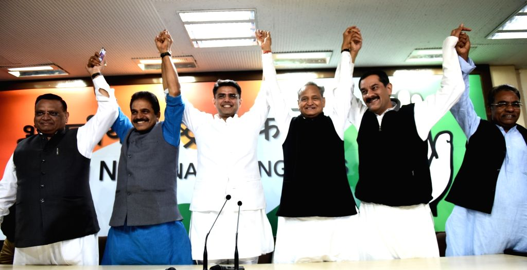 Congress leaders Ashok Gehlot, KC Venugopal, Sachin Pilot and others during a press conference in New Delhi on Dec 14, 2018.