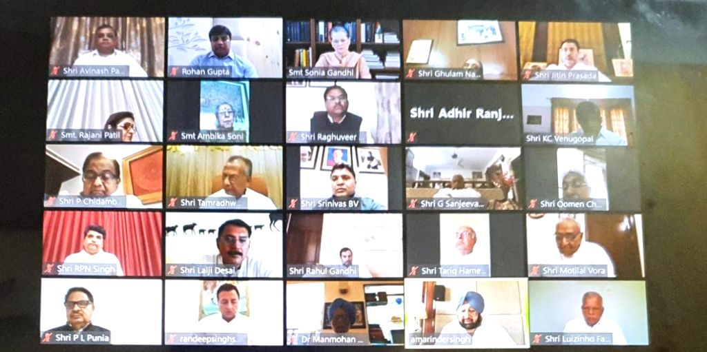 Congress leaders attend the party's Working Committee Meeting chaired by party President Sonia Gandhi via vdeo conferencing on Thursday during the 21-day nationwide lockdown (that entered its 9th day) imposed as a precautionary measure to contain the - Sonia Gandhi