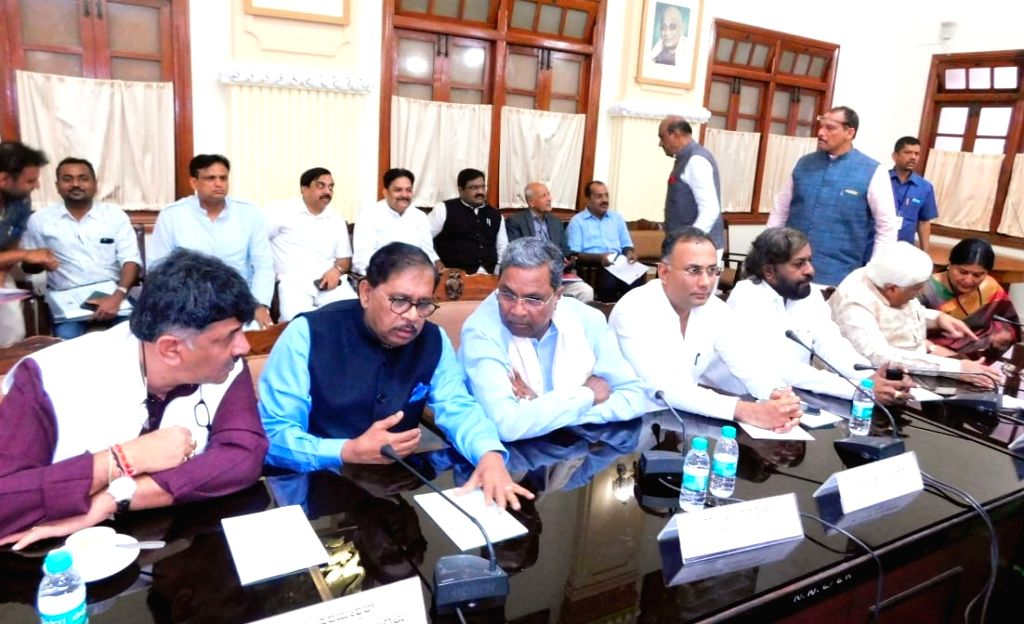 Congress leaders D. K. Shivakumar, G. Parameshwara, Siddaramaiah, D. Gundu Rao and Eshwara Khandre during Congress Legislature Party (CLP) meeting at Vidhana Soudha, in Bengaluru on Feb 8, ... - D. Gundu Rao