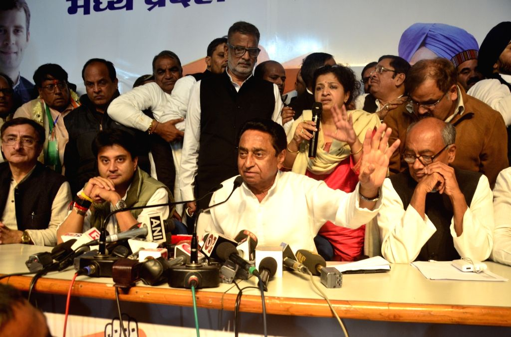 Congress leaders Digvijay Singh, Kamal Nath and Jyotiraditya Scindia during a press conference in Bhopal on Dec 12, 2018. The party is all set to form the government in Madhya Pradesh  with ... - Digvijay Singh and Kamal Nath