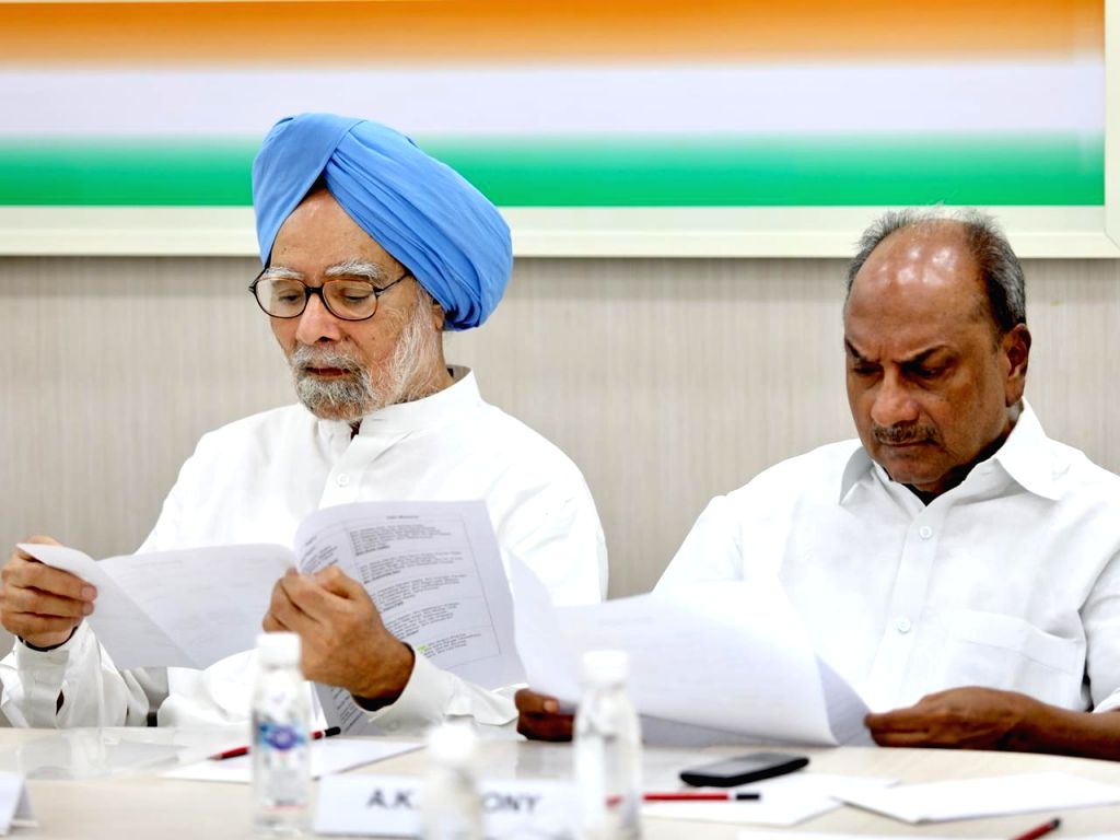 Congress leaders Dr. Manmohan Singh and A. K. Antony during Congress Working Committee meeting in New Delhi on Aug 10, 2019. - Manmohan Singh