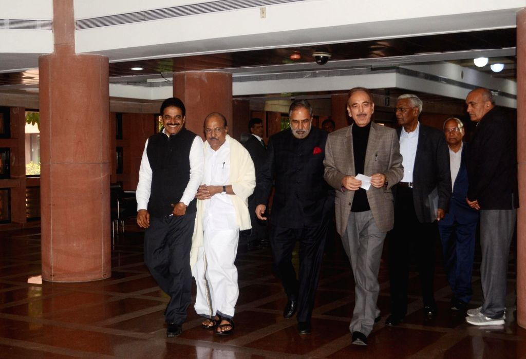 Congress leaders Ghulam Nabi Azad, Anand Sharma, CPI leader D. Raja and other party leaders depart after the all party meeting on the Pulwama terror attack at Parliament House, in New ... - Anand Sharma