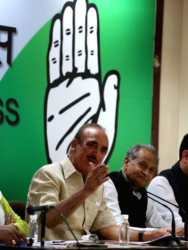 Congress leaders Ghulam Nabi Azad and  Ashok Gehlot during a press conference, in New Delhi on May 26, 2018.
