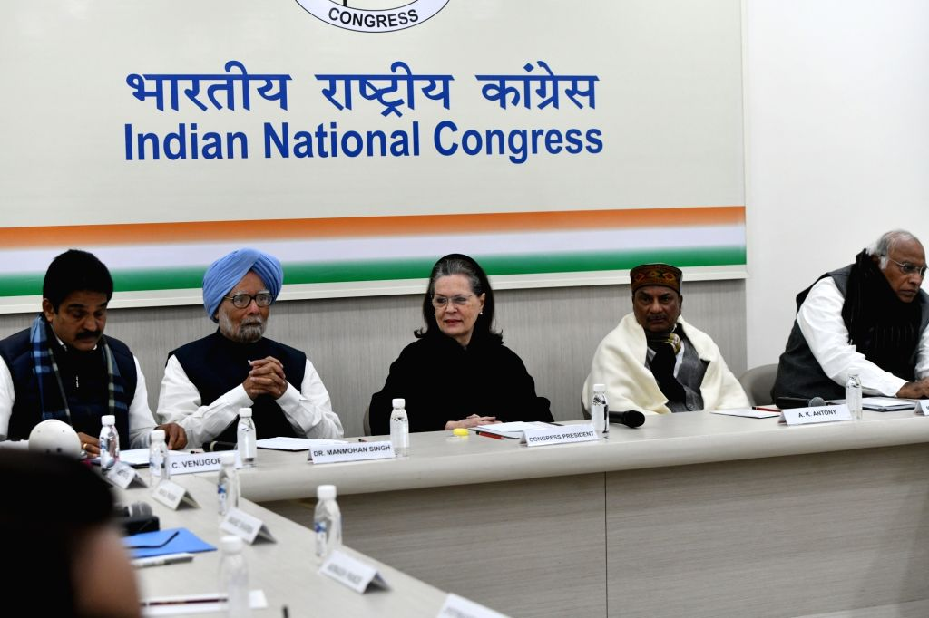 Congress leaders KC Venugopal, Manmohan Singh, Sonia Gandhi, AK Antony and Mallikarjun Kharge during the Congress Working Committee (CWC) meeting at the party's headquarters in New Delhi ... - Manmohan Singh and Sonia Gandhi