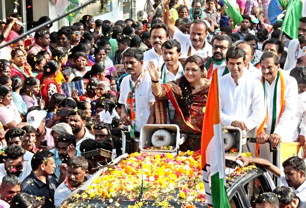 Congress leaders Kushboo Sundar, KJ George and NA Haris campaign for party's Lok Sabha candidate from Bengaluru Central Rizwan Arshad, in Bengaluru on April 10, 2019.