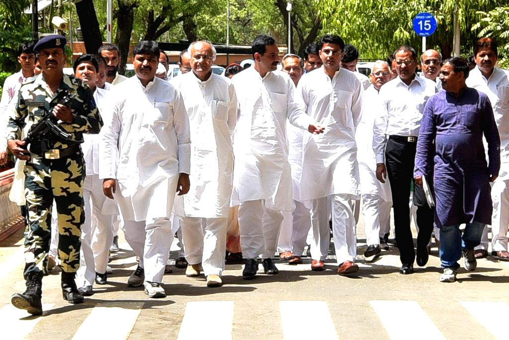 Congress leaders led by Sachin Pilot come out after meeting Rajasthan Governor Kalyan Singh to demand CBI probe into Pehlu Khan lynching case in Jaipur, on April 21, 2017. - Kalyan Singh and Pehlu Khan