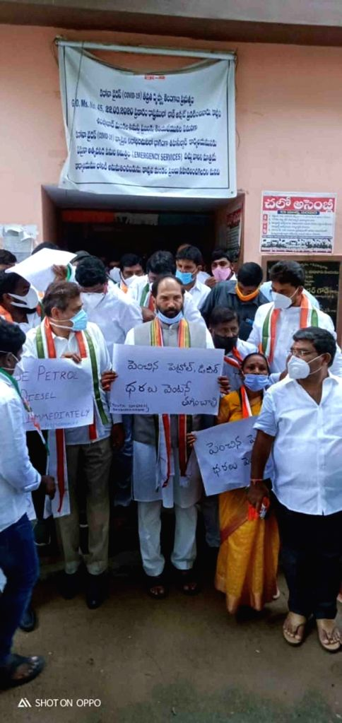 Congress leaders led by Telangana party president N. Uttam Kumar Reddy stage a demonstration against the hike in the prices of petrol and diesel demanding the Central Government to ...
