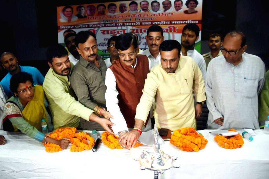 Congress leaders Madan Mohan Jha and Rahul Yadav during a party meeting in Patna on Sep 20, 2019. - Rahul Yadav