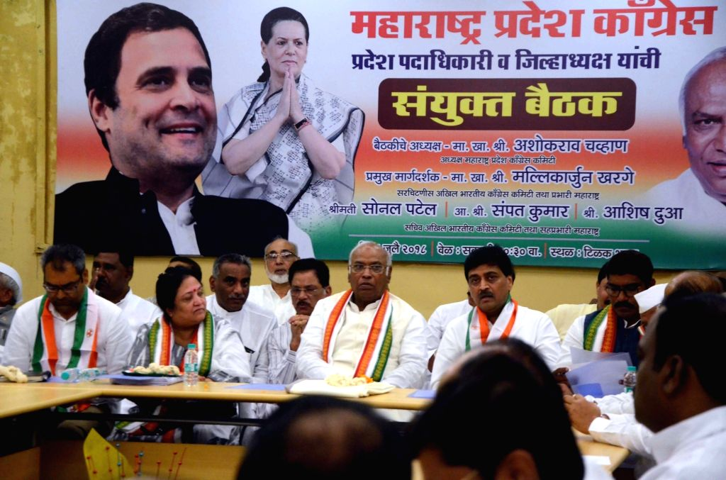 Congress leaders Mallikarjun Kharge and Ashok Chavan during a party meeting in Mumbai on July 8, 2018.