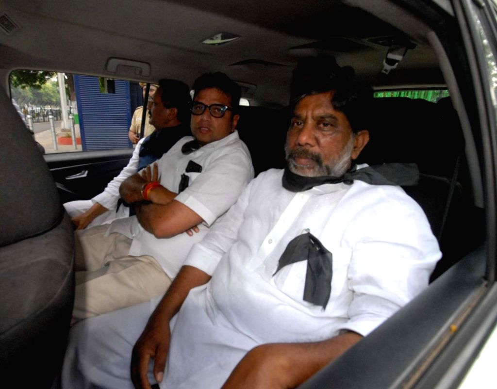 Congress leaders Mohammed Ali Shabbir, Sridhar Babu and Mallu Bhatti Vikramarka being taken away after they were arrested for protesting at the Telangana Assembly against the 12 party MLAs ...