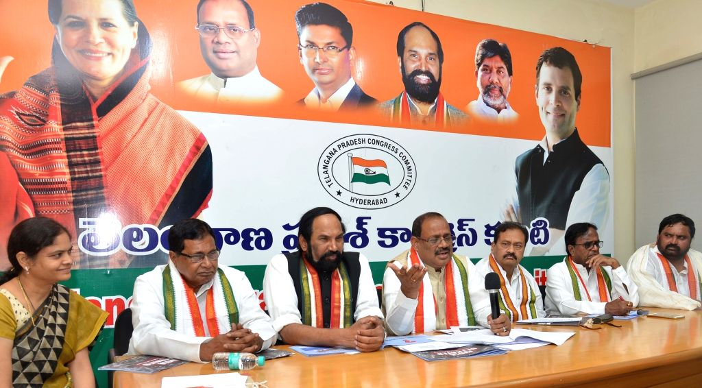 Congress leaders N. Uttam Kumar Reddy, K. Jana Reddy, RC Khuntia and other leaders of the party during a press conference in Hyderabad on May 26, 2018. - K. Jana Reddy