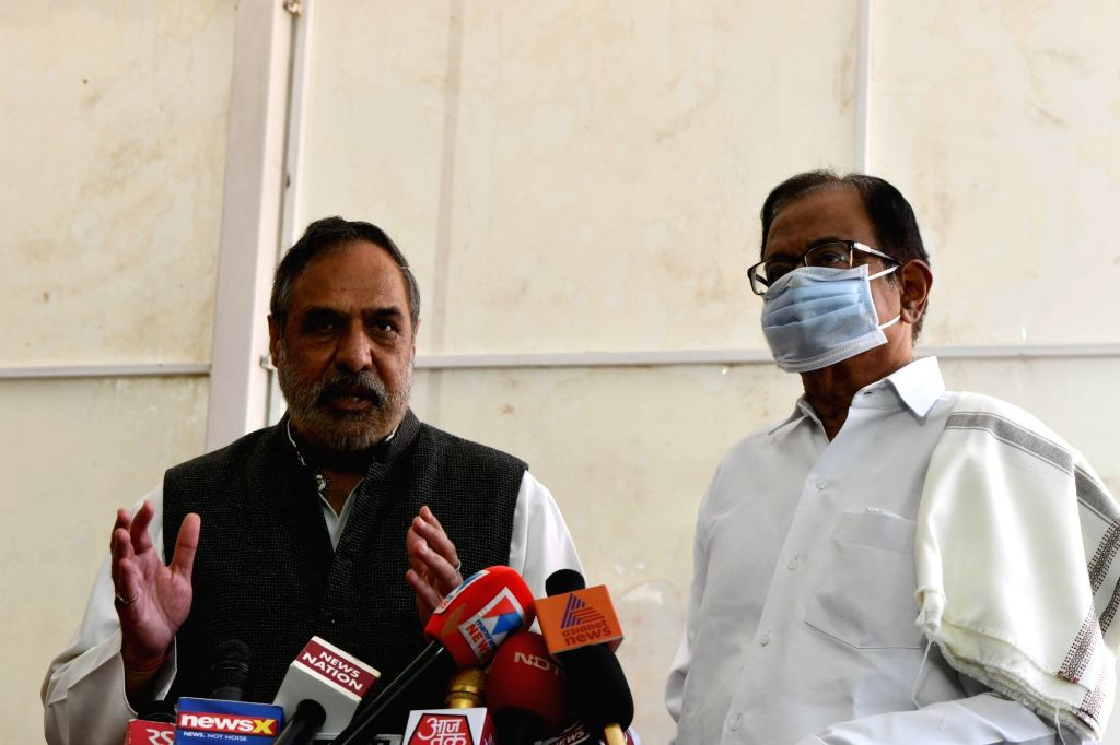 Congress leaders P Chidambaram and Anand Sharma talk to the press at Parliament, in New Delhi on 19 March 2020. - Anand Sharma