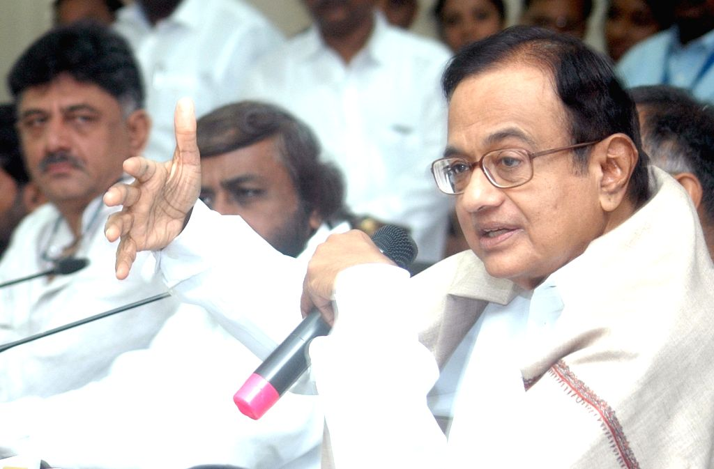 Congress leaders P. Chidambaram and D. K. Shivakumar at the party's Shakti app launch programme, in Bengaluru on July 28, 2018.