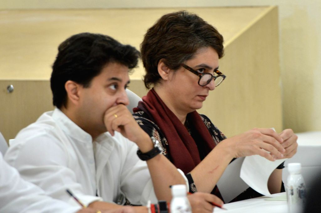 Congress leaders Priyanka Gandhi Vadra and Jyotiraditya Scindia during a meeting of party general secretaries, state in-charges, state unit chiefs and others at party Headquarters in New ... - Priyanka Gandhi Vadra