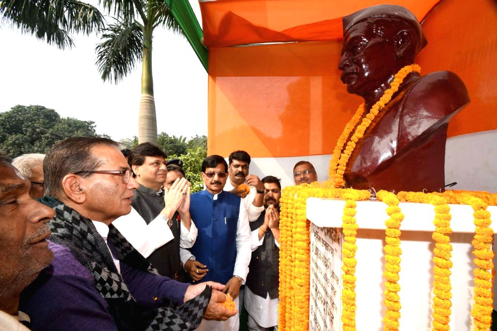 Congress leaders Qaukab Qadri and Madan Mohan Jha pay tributes to India's first President Rajendra Prasad on his 135th birth anniversary, in Patna on Dec 3, 2019.