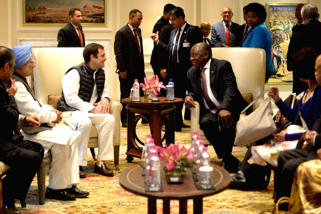 Congress leaders Rahul Gandhi and Manmohan Singh meet South African President Matamela Cyril Ramaphosa in New Delhi, on Jan 26, 2019. - Rahul Gandhi and Manmohan Singh