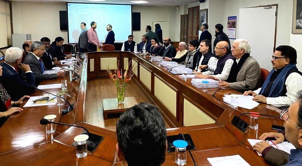 Congress leaders Rahul Gandhi, Priyanka Gandhi Vadra, Abhishek Manu Singhvi, Salman Khurshid, PL Punia and Rajeev Shukla during a meeting with the members of the National Human Rights ... - Rahul Gandhi and Priyanka Gandhi Vadra