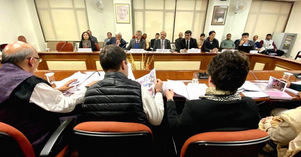 Congress leaders Rahul Gandhi, Priyanka Gandhi Vadra and Abhishek Manu Singhvi during a meeting with the members of the National Human Rights Commission (NHRC), in New Delhi on Jan 27, ... - Rahul Gandhi and Priyanka Gandhi Vadra