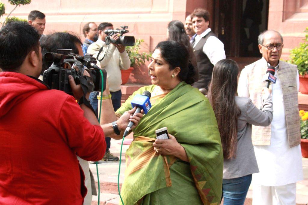 Congress leaders Renuka Chowdhury and Digvijaya Singh at Parliament in New Delhi on Nov 30, 2016. - Digvijaya Singh