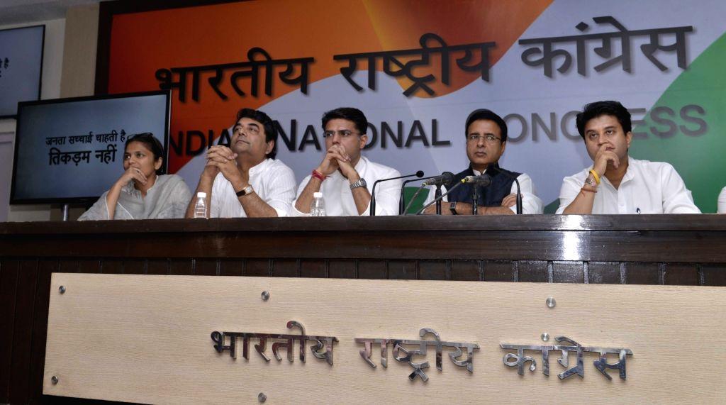 Congress leaders Sachin Pilot, Randeep Surjewala and Jyotiraditya Scindia during a press conference in New Delhi on May 16, 2017.