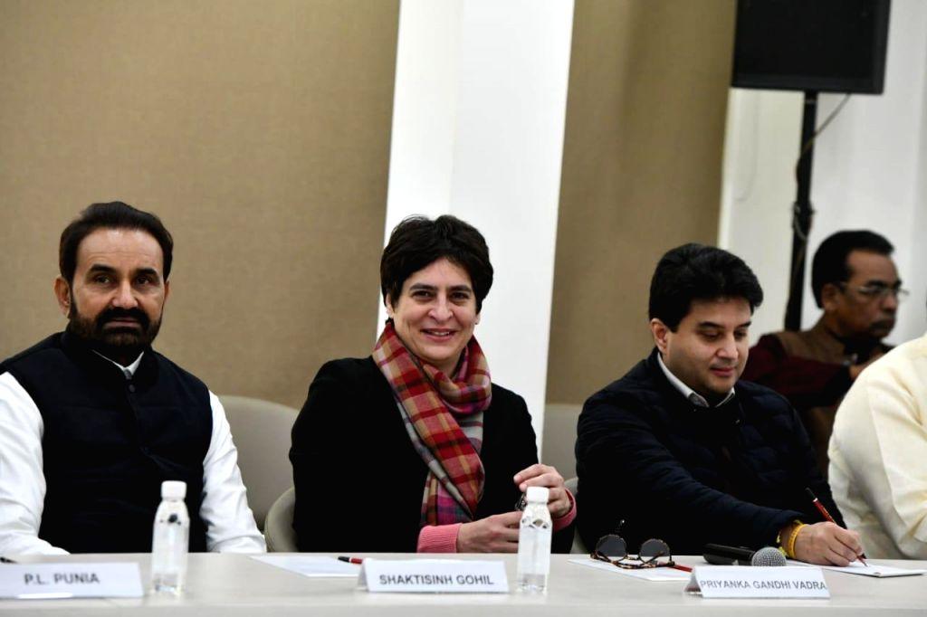 Congress leaders Shaktisinh Gohil, Priyanka Gandhi Vadra and Jyotiraditya Scindia during the Congress Working Committee (CWC) meeting at the party's headquarters in New Delhi on Jan 11, ... - Priyanka Gandhi Vadra