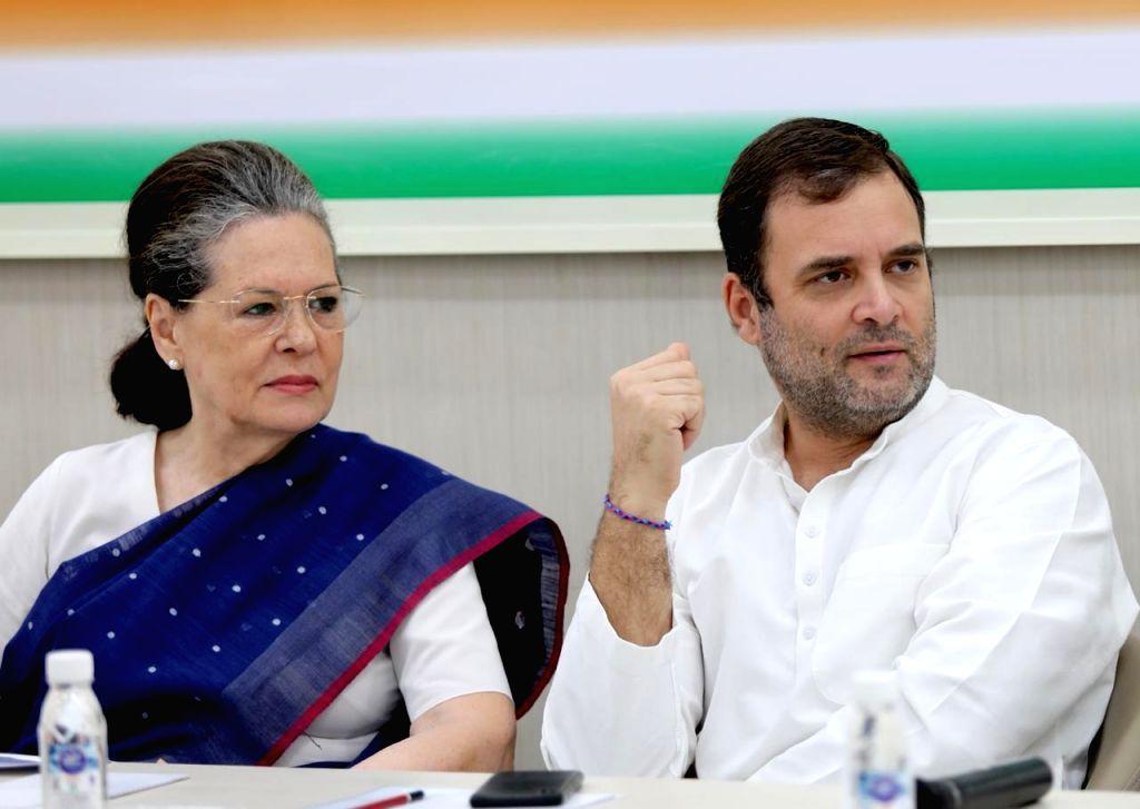 Congress leaders Sonia Gandhi and Rahul Gandhi during Congress Working Committee meeting in New Delhi on Aug 10, 2019. - Sonia Gandhi and Rahul Gandhi