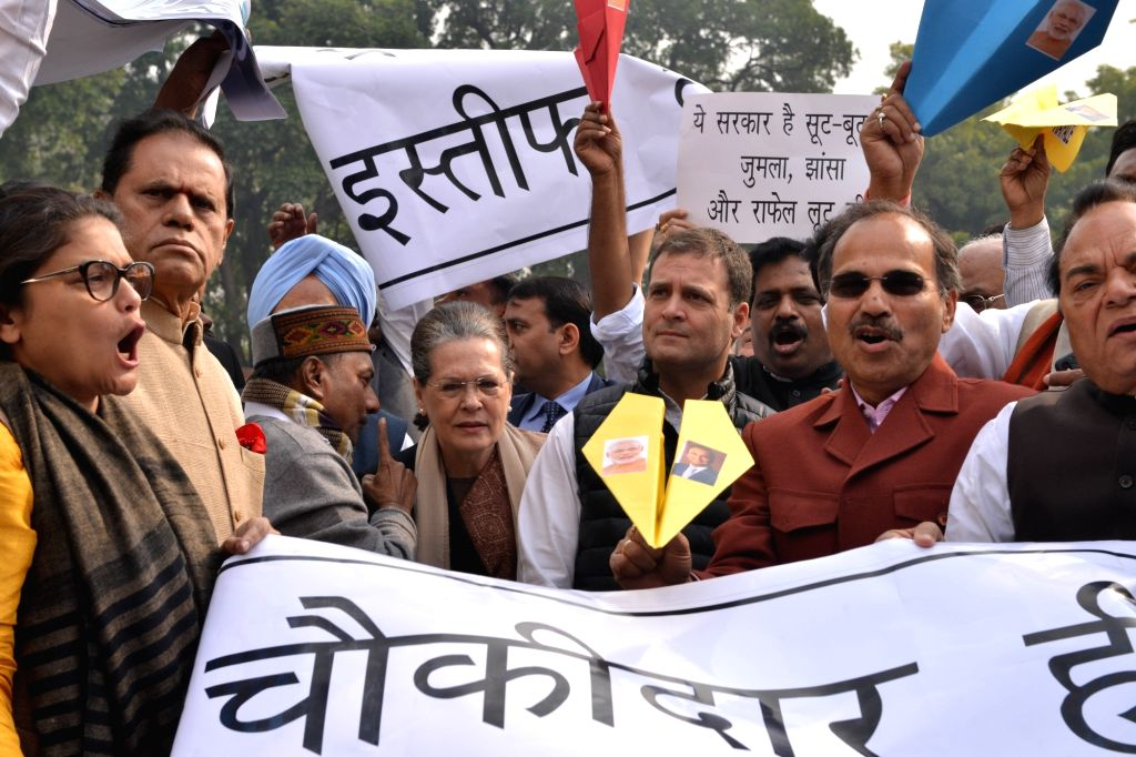 Congress leaders Sonia Gandhi, Rahul Gandhi, Sushmita Dev, Adhir Ranjan Chowdhury and others stage a demonstration against alleged scam in Rafale deal at Parliament in New Delhi on Feb 13, ... - Sonia Gandhi, Rahul Gandhi and Sushmita Dev