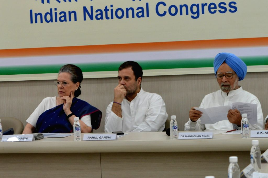 Congress leaders Sonia Gandhi, Rahul Gandhi and Manmohan Singh at the Congress Working Committee (CWC) Meeting, at the party's headquarters in New Delhi on Aug 10, 2019. - Sonia Gandhi, Rahul Gandhi and Manmohan Singh