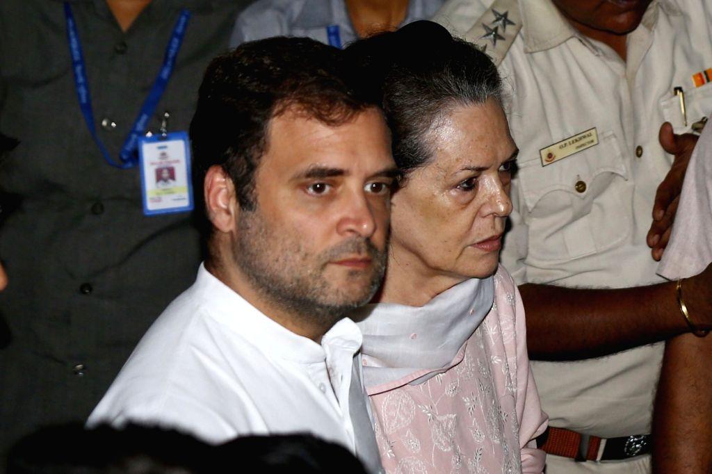 Congress leaders Sonia Gandhi, Rahul Gandhi arrive to pay tribute to Arun Jaitley at his residence in New Delhi on Aug 24, 2019. - Sonia Gandhi, Rahul Gandhi and Arun Jaitley