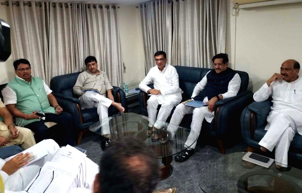 Congress leaders Vijay Wadettiwar, Ashok Chavan, Balasaheb Thorat, Prithviraj Chavan and Manikrao Thackeray during a party meeting in Mumbai on July 16, 2019.