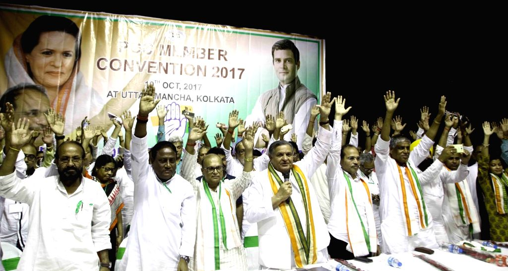 Congress leaders Yoganand Shastri, Adhir Ranjan Chowdhury and others during a party meeting in Kolkata on Oct 10, 2017.