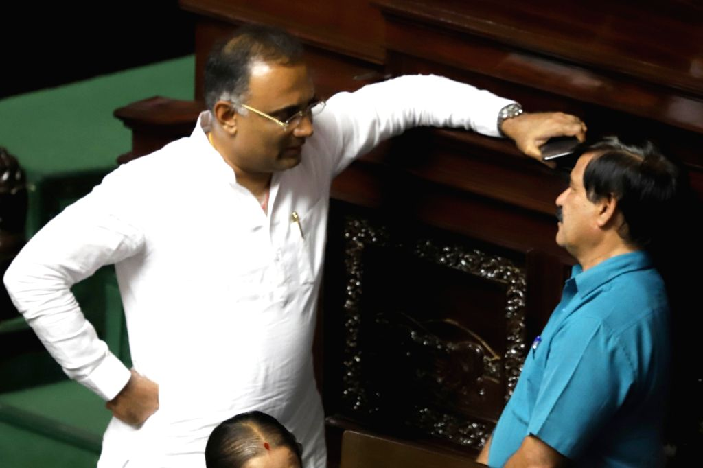 Congress legislator Dinesh Gundu Rao and BJP legislator S. A. Ramadas in Karnataka Assembly where Chief Minister HD Kumaraswamy moved motion of confidence in Bengaluru on July 18, 2019. - Dinesh Gundu Rao