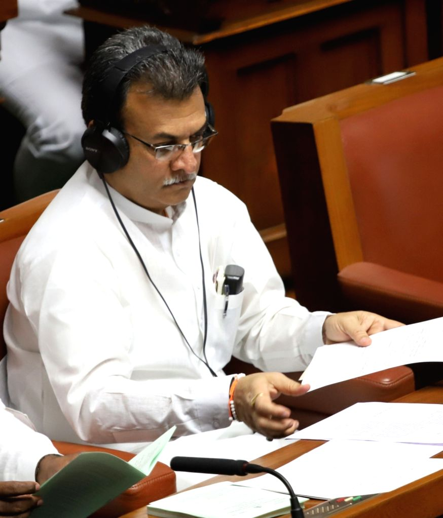 Congress legislators Mahesh Kumathahalli during budget session at Karnataka Assembly in Bengaluru, on Feb 13, 2019.