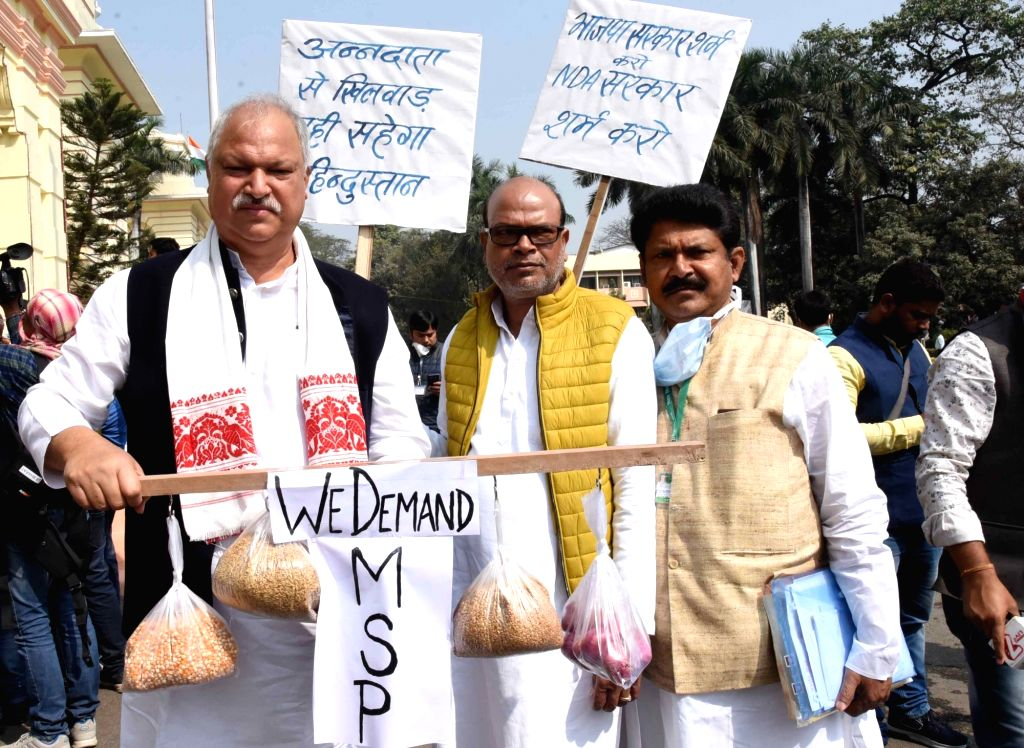 Congress legislators stage a protest outside the Bihar Legislative Assembly during the Bihar Budget Session, in Patna on  Monday 22nd February, 2021.