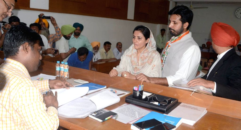 Congress Lok Sabha candidate from Bathinda, Amarinder Singh Raja at District Magistrate office while filing his nomination for the forthcoming Lok Sabha polls, in Punjap's Bathinda, on ... - Amarinder Singh Raja