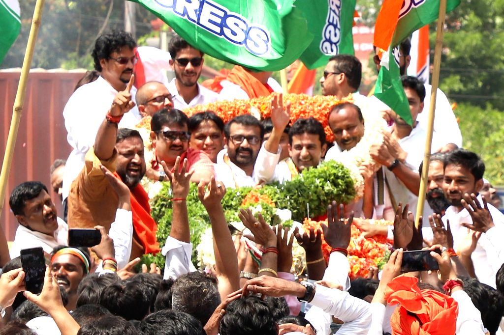 Congress' Lok Sabha candidate from Bengaluru Central, Rizwan Harshad on his way to file his nomination for 2019 Lok Sabha elections in Bengaluru, on March 25, 2019.