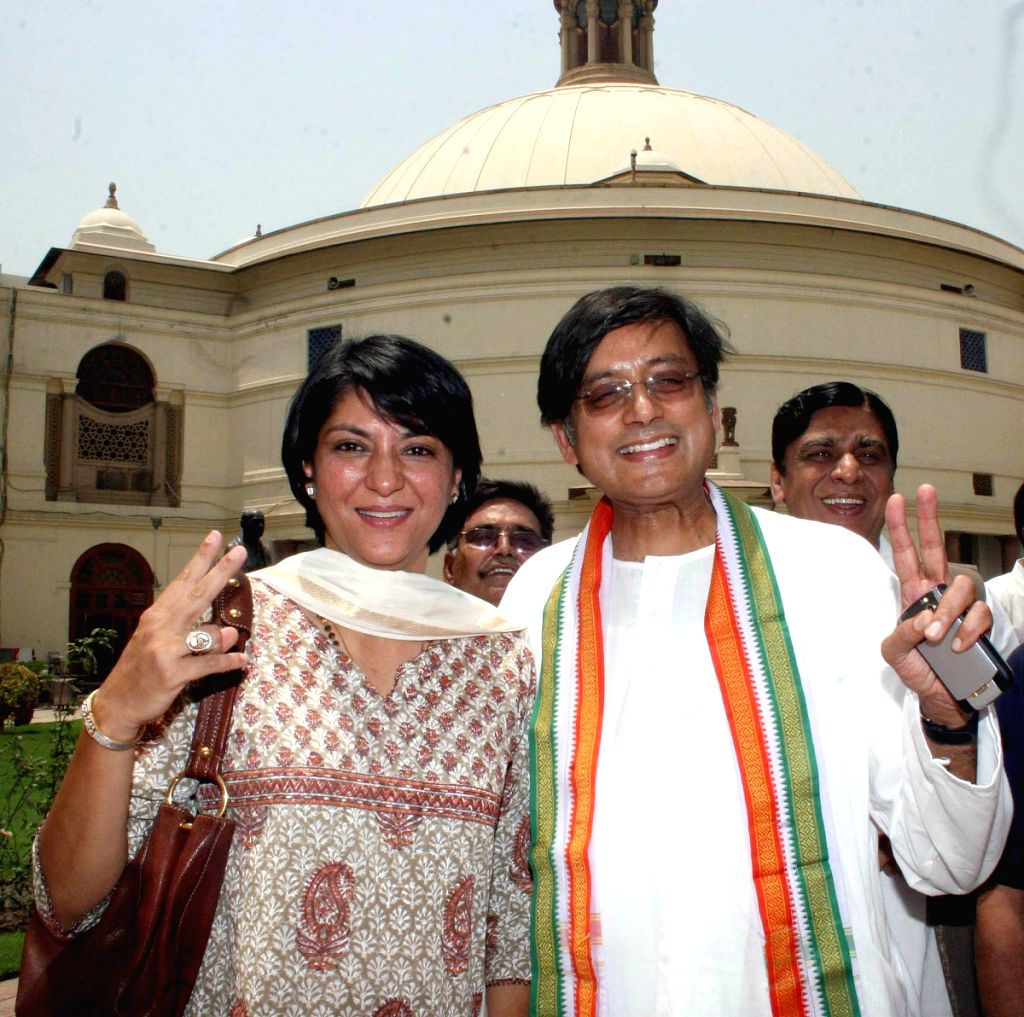 Congress M.P's Priya Dutt and Shashi Tharoor at Congress Parliamentry Party meeting at Parliament House on Tuesday. - Shashi Tharoor and Priya Dutt