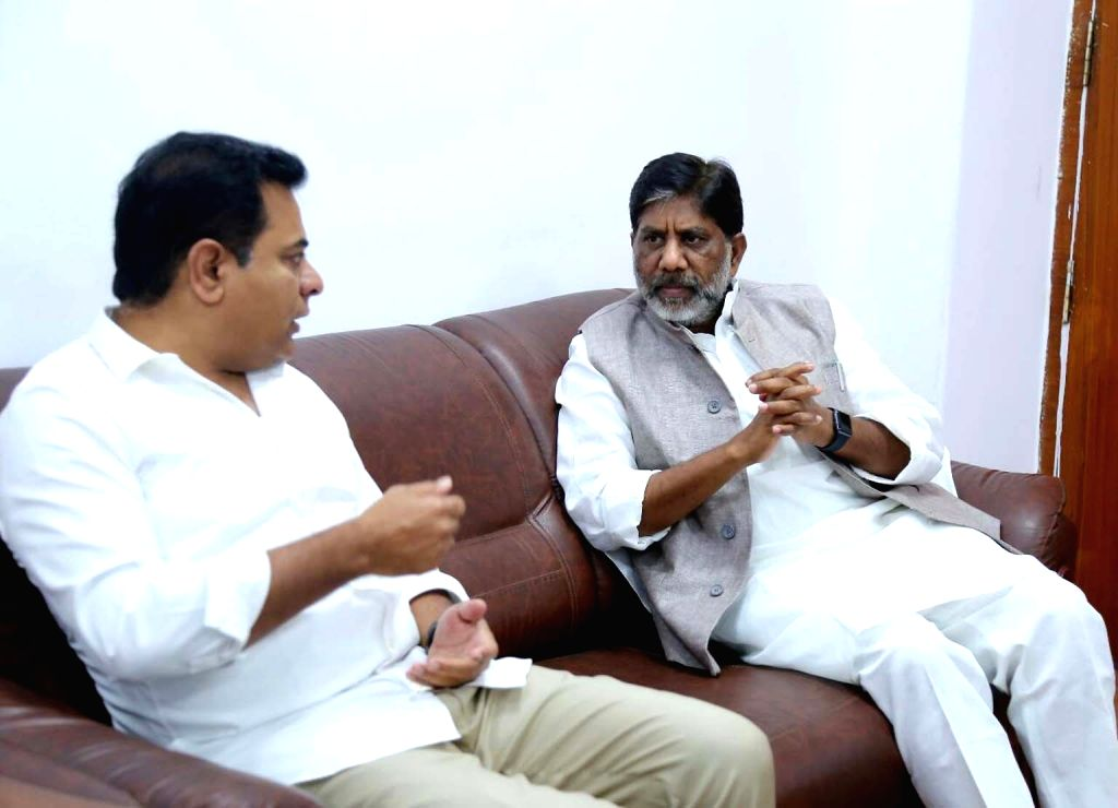 Congress Mallu Bhatti Vikramarka and TRS leader KT Rama Rao during a meeting in Hyderabad on Feb 23, 2019. - Rao