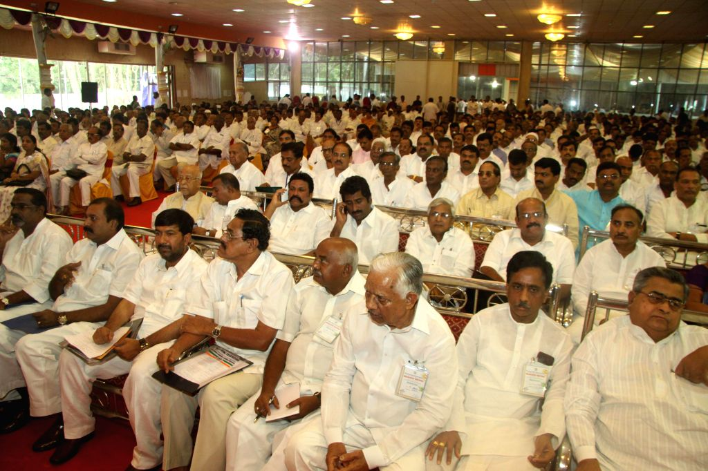 Congress Members gathered during the Congress Representatives Meeting, at Palace Grounds, in Bangalore on June 28, 2014.