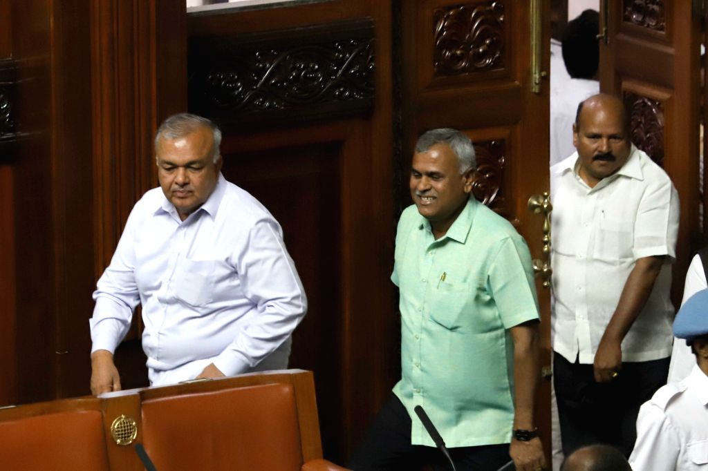 Congress MLA Ramalinga Reddy in the state assembly where Chief Minister HD Kumaraswamy moved motion of confidence in Bengaluru on July 18, 2019. - H and Ramalinga Reddy